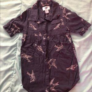 Old Navy 3T Navy Blue Sparrow Tshirt Dress
